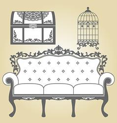 Vintage Sofa Vintage Bird Cage and Vintage Trunk vector image