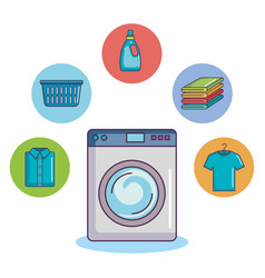 Washing machine with clothes towel basket soap vector