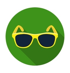 Yellow trendy sunglasses icon in flat style vector