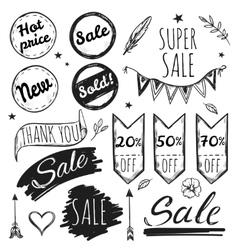 Hand drawn sale tag set vector