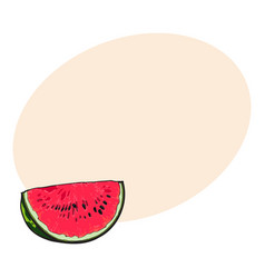 Quarter slice of ripe watermelon with black seeds vector