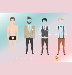 Set of clothes for the groom in cartoon style vector