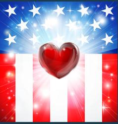 American heart patriotic background vector
