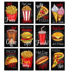 fast food menu chalkboard poster set vector image