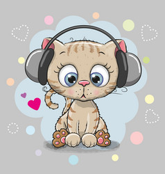 cute cartoon kitten with headphones vector image