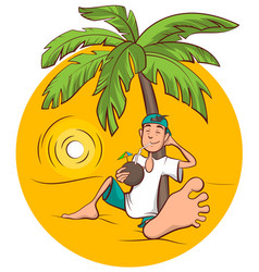 Beach holidays young man sits under palm tree and vector