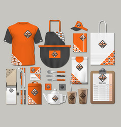 business fastfood corporate identity items set vector image