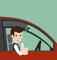 Businessman in a red car vector