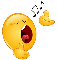 Singing emoticon vector