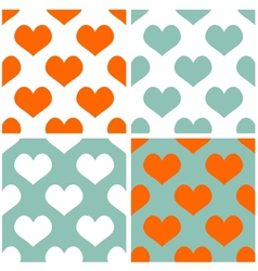 Tile pastel hearts background set vector