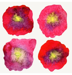 Four stylized watercolor poppy flowers vector