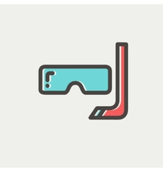 Snorkel and mask for diving thin line icon vector