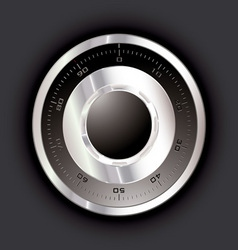 Silver metal safe dial with black background vector