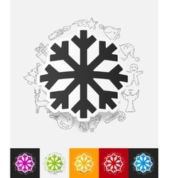Snowflake paper sticker with hand drawn elements vector
