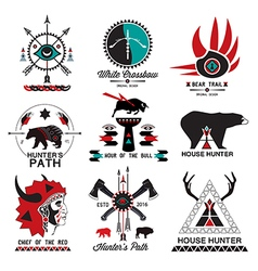 Set of hunting ethnics logo vector image