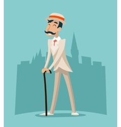 Wealthy cartoon victorian gentleman businessman vector