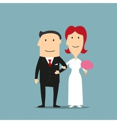 Just married cartoon bride and groom vector