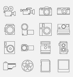 Set of cameras outline style icon vector