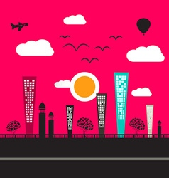 Abstract Flat Design City vector image
