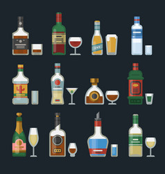 Alcohol strong drinks in bottles cocktail glasses vector