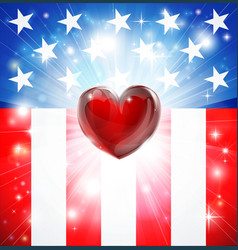 American heart patriotic background vector