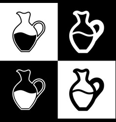 Amphora sign black and white icons and vector