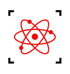 Atom sign red icon inside vector