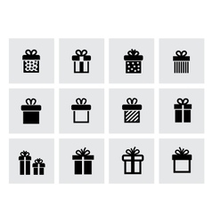 black gift icon set on white vector image