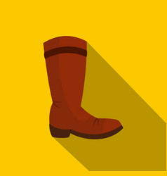 Brown cowboy boot icon flat style vector