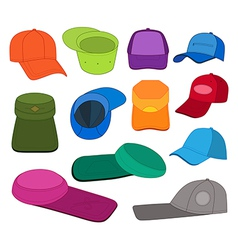 Cap template colored set vector