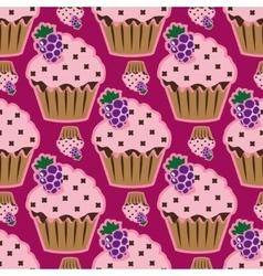 Cream cake pink seamless pattern vector image