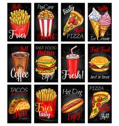 Fast food menu chalkboard poster set vector