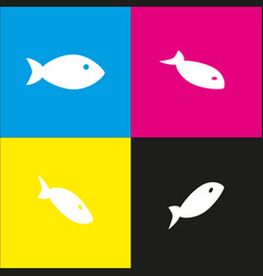 Fish sign white icon with vector