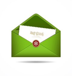 Green Envelope letter Merry christmas white card vector image