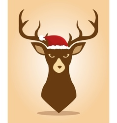 Happy merry christmas with character reindeer vector