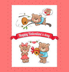 Happy valentines day poster with male bear hive vector