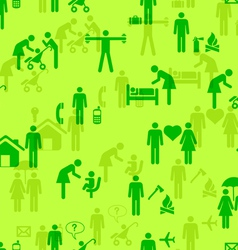 Icons - People seamless wallpaper vector image