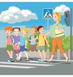 Kids crossing road with teacher vector image