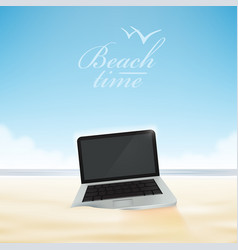 Laptop computer in the beach sand vector