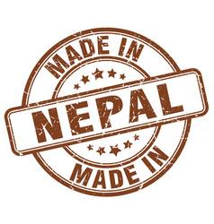 Made in nepal brown grunge round stamp vector