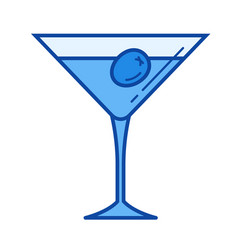 martini glass line icon vector image vector image