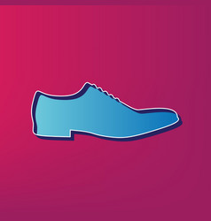 Men shoes sign blue 3d printed icon on vector