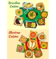 Mexican and brazilian cuisine dinners icon vector