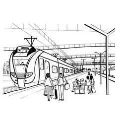Monochrome horizontal sketch with people vector