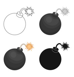 Pirate grenade icon in cartoon style isolated on vector