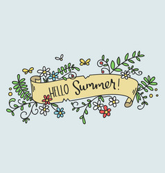 pretty hand-drawn floral banner -hello summer- vector image vector image
