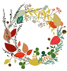 Round frame of leaves in autumn vector