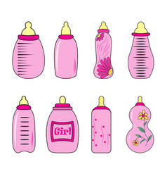 set of baby bottles for girl in vector image vector image
