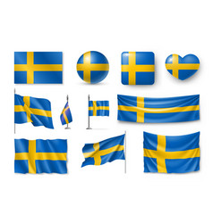 set sweden flags banners banners symbols flat vector image vector image