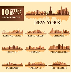 Set usa city 1 brown vector